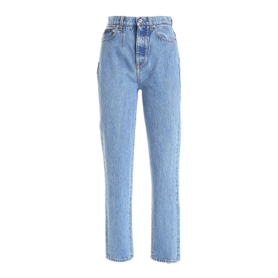 STRAIGHT FIT JEANS WITH DECORATIVE PLATE