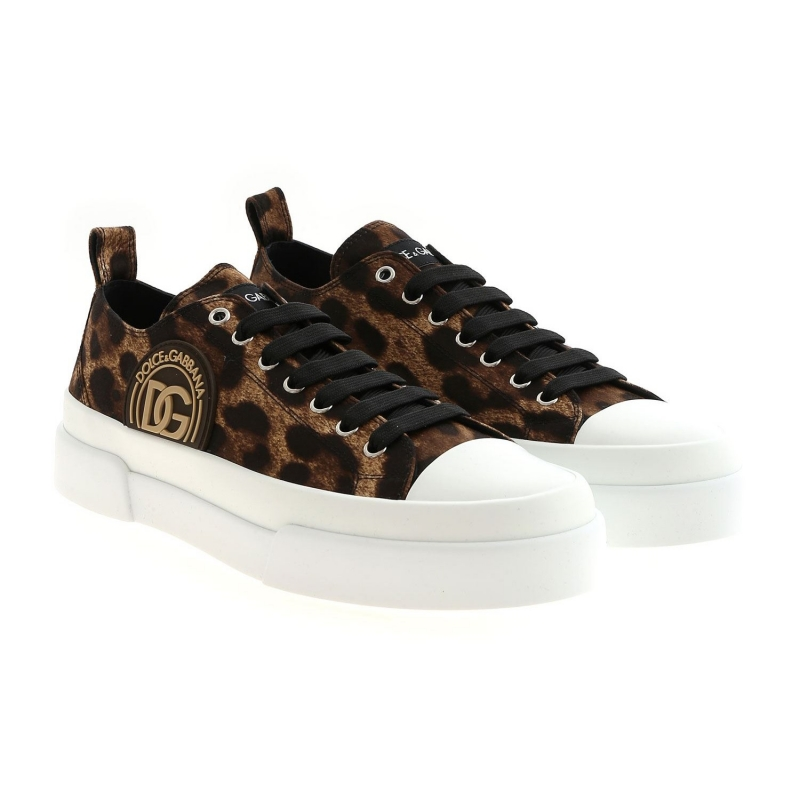 LEO PRINTED COTTON SNEAKERS WITH LOGO