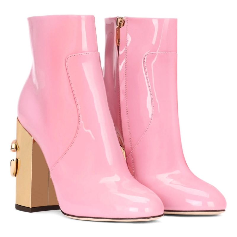 VALLY PATENT LEATHER BOOTS WITH DG KAROL HEELS