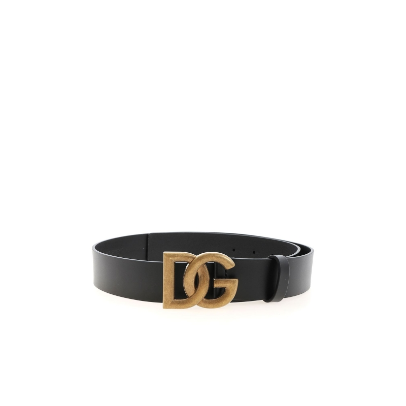 LUX LEATHER BELT WITH CROSSOVER DG LOGO BUCKLE