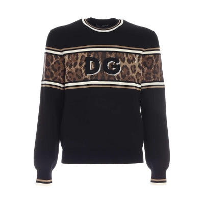 ROUND-NECK LEOPARD-DESING JACQUARD SWEATER WITH DG LOGO