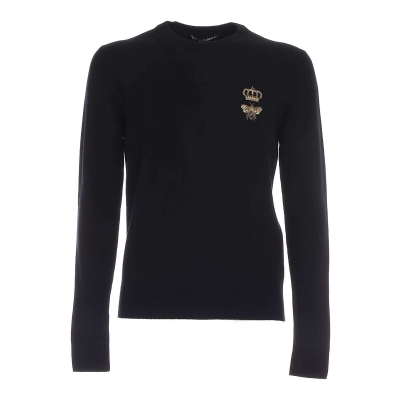 ROUND-NECK WOOL SWEATER WITH EMBROIDERY