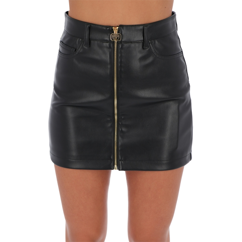 FAUX LEATHER MINI SKIRT WITH ZIP FASTENING