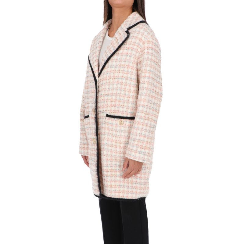 BOUCLÉ COAT WITH LOGOED BUTTONS FASTENING