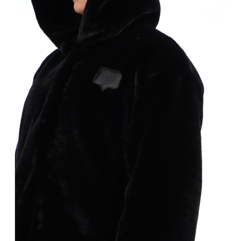 FAUX FUR WITH LOGOED PATCH ON THE BACK
