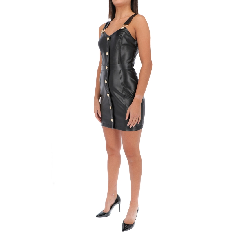 FAUX LEATHER DRESS WITH DECORATIVE BUTTONS