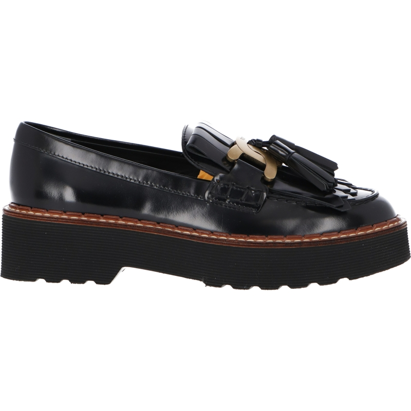 LEATHER LOAFER WITH DECORATIVE CHAIN AND OVERSIZED SOLE