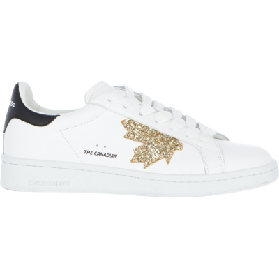 BOXER SNEAKERS WITH GLITTER LEAF LOGO