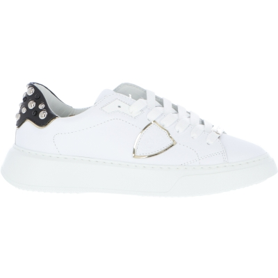 TEMPLE LEATHER SNEAKERS WITH STUDDED SPOILER