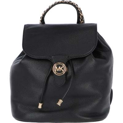 MINA LEATHER BACKPACK WITH LOGOED FASTENING