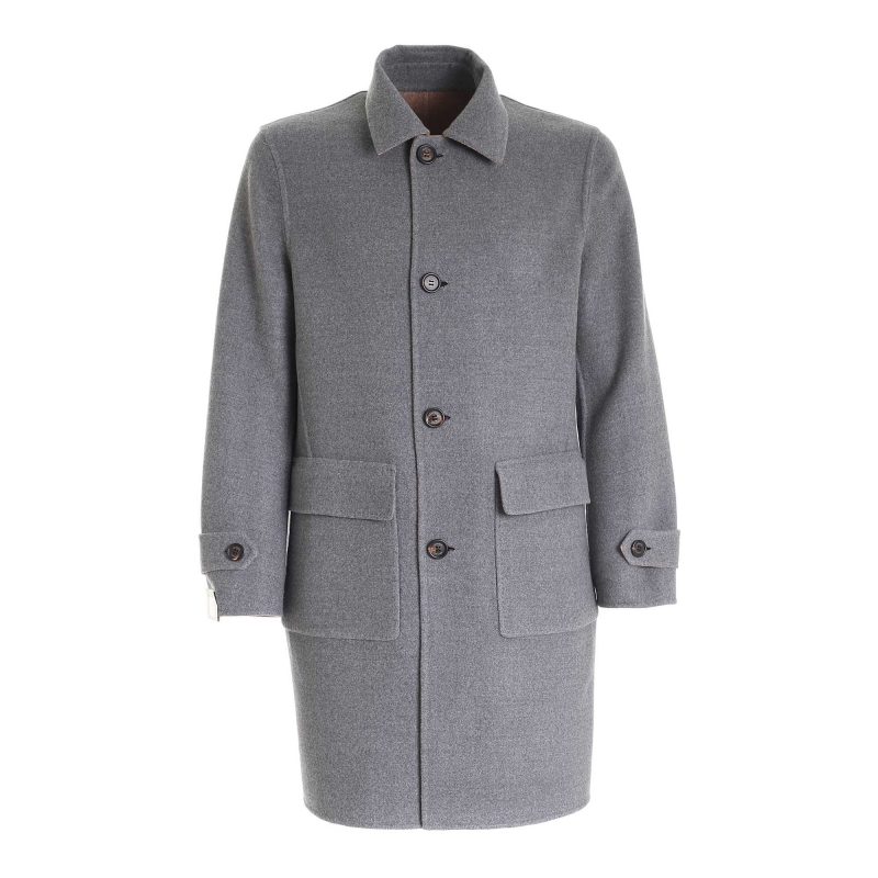 SINGLE BREASTED 4 BUTTONS REVERSIBLE COAT