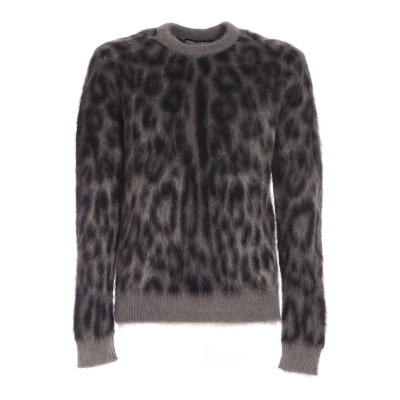 WOOL/MOHAIR JACQUARD ROUND-NECK SWEATER WITH LEOPARD DESING