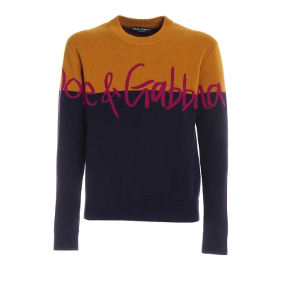 WOOL JACQUARD ROUND-NECK SWEATER WITH LOGO