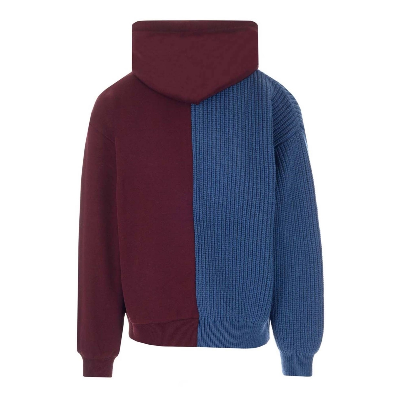WOOL AND JERSEY HOODIE WITH PATCH EMBELLISHMENT