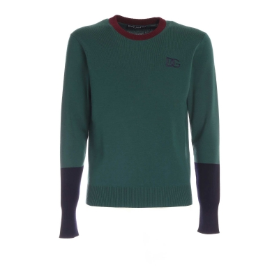 ROUND-NECK WOOL SWEATER WITH EMBROIDERED LOGO