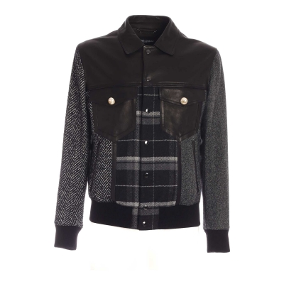 WOOL PATCHWORK JACKET WITH LEATHER DETAILS