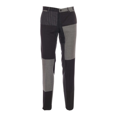 TAILORED CASHMERE AND WOOL PATCHWORK PANTS