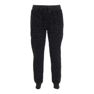 JOGGING PANTS WITH FLOCKED LEOPARD PRINT
