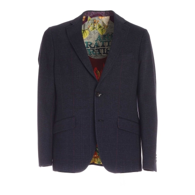TWO BUTTONED CHECKED JACKET IN BLUE